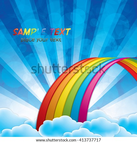 Bright arched rainbow with clouds realistic vector illustration - stock vector