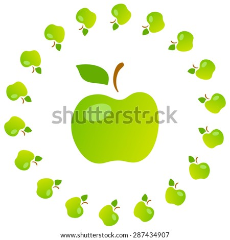 Bright art illustration of green mellow apples. Fully editable vector illustration. Perfect for textile, background, wallpaper use.   - stock vector