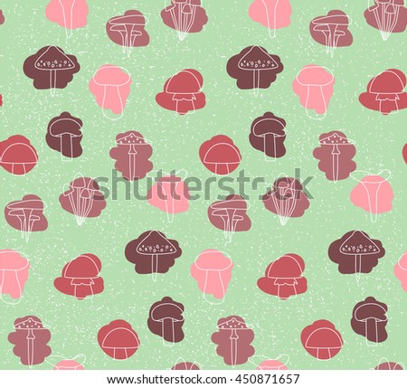 Bright autumn background with mushrooms. Seamless pattern with different mushrooms and stains on green background. Ideal for decoration, and design guides - stock vector