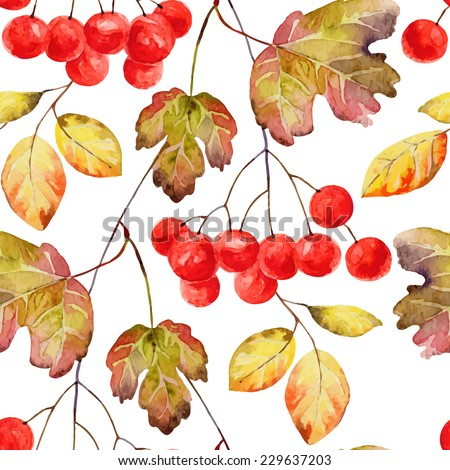 Bright autumn seamless pattern with gold leaves and berries of viburnum. Vector illustration - stock vector