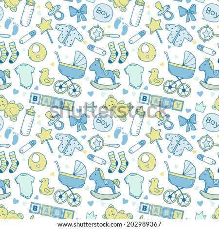 Bright baby boy pattern with cute newborn elements - stock vector