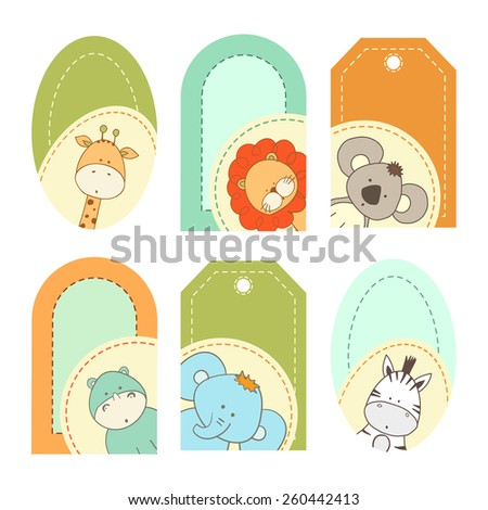 Bright baby's labels with cute animals - stock vector