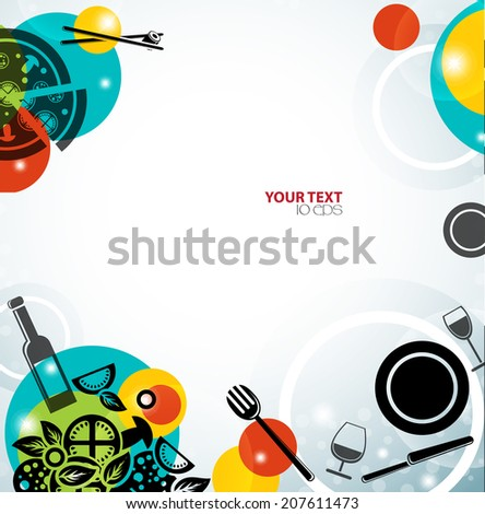 bright background for the menu with a plate, food and tableware - stock vector