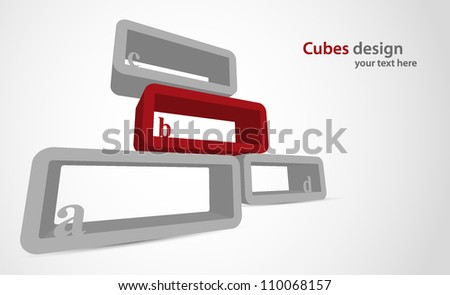 Bright background with color cubes and letter - stock vector