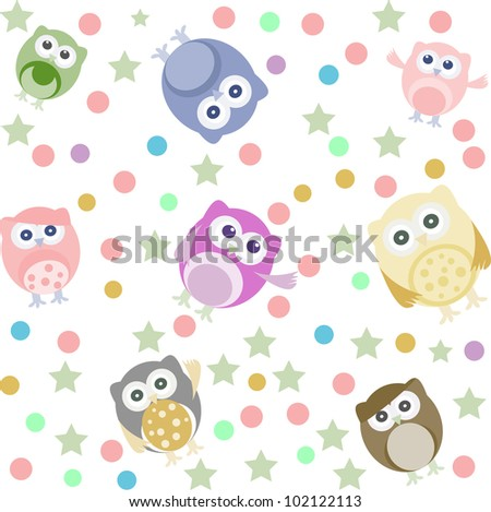 Bright background with cute owls, stars, circles. Seamless pattern - stock vector
