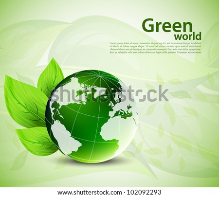 Bright background with globe and green leaves - stock vector