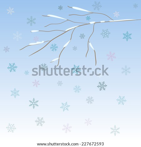 Bright background with snow-covered bare winter abstract branch and blue snowflakes - stock vector