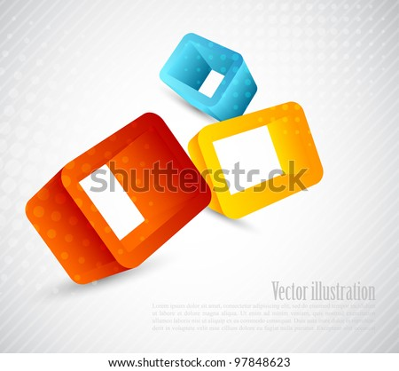Bright background with three color 3d cubes - stock vector