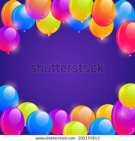 Bright Balloon Frame Background with Copy Space in the Middle - stock vector