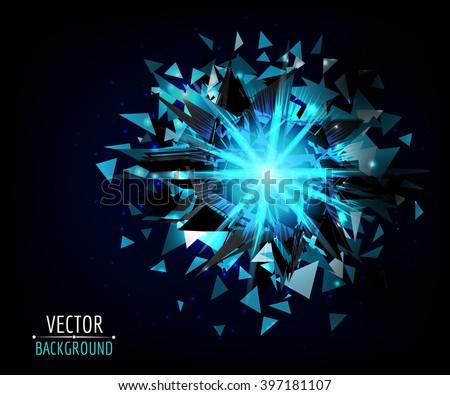 Bright blast in dark. Vector abstract background. Glowing neon light. - stock vector