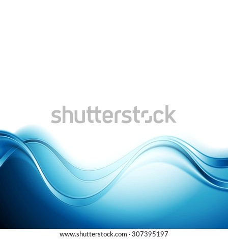 Bright blue abstract water waves design. Vector background - stock vector