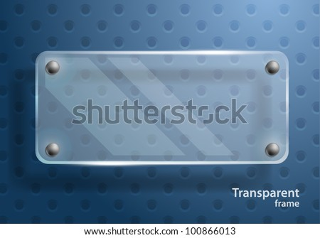 Bright blue background with clear glass frame - stock vector