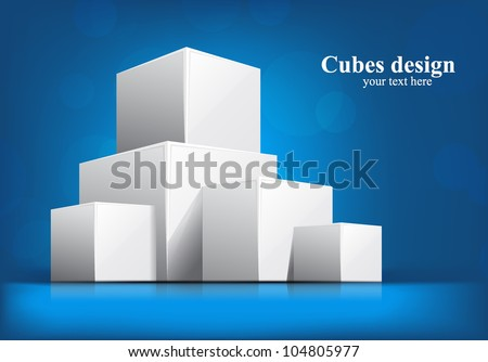 Bright blue background with white 3d cubes - stock vector