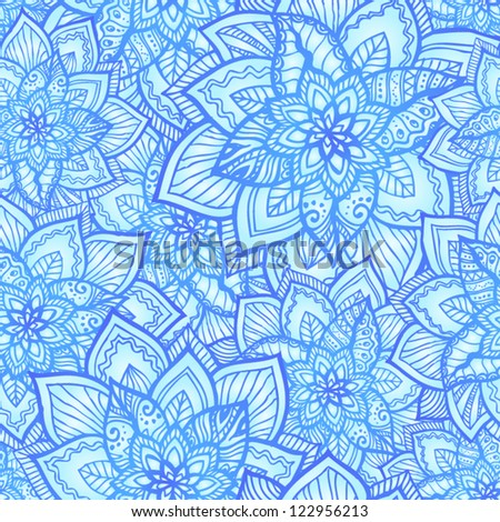 Bright blue floral seamless pattern with doodle flowers, vector illustration - stock vector
