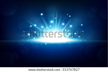 Bright blue light rising from the black horizon - stock vector