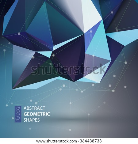 Bright blue Polygon geometry shape. Vector illustration EPS10 - stock vector