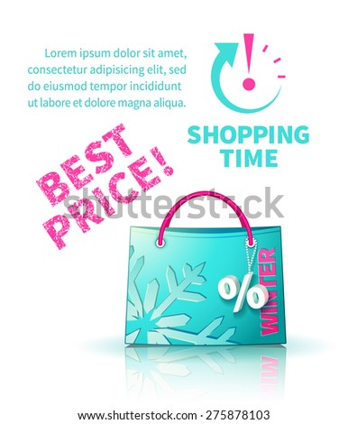Bright blue shopping bag with advertising seasonal winter sale and trinket in form of percent and lettering of best price and icon shopping time - stock vector