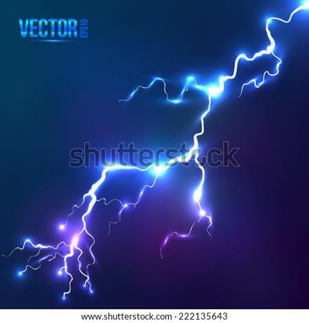Bright blue vector lightning - stock vector