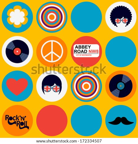 bright british musical pattern - stock vector