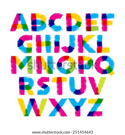 Bright Brush Stroke Artistic Alphabet Vector Concept - stock vector