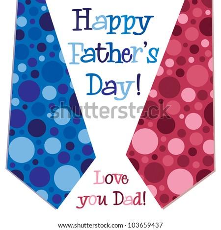 Bright bubble tie 'Happy Father's Day' neck tie card in vector format. - stock vector