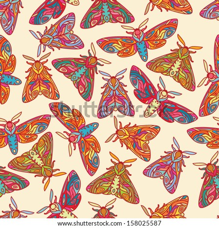 Bright butterflies or moths seamless pattern. Colorful insects illustration. Moths isolated on light background. - stock vector