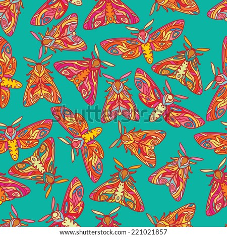 Bright butterflies or moths seamless pattern. Colorful insects illustration. Moths isolated on turquoise background.  - stock vector