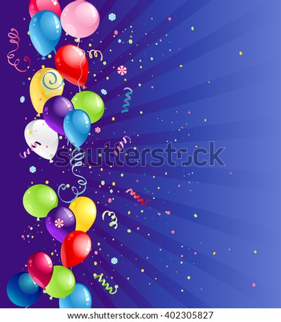 Bright card with balloons for design banner,ticket, leaflet and so on.Template page. Holiday card. - stock vector