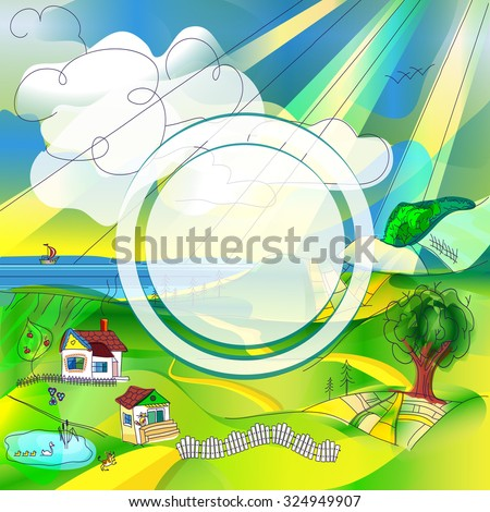 Bright cartoon rural landscape with a round frame for placing a logo or other information - stock vector