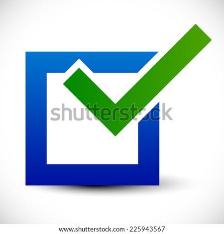 Bright check box icon with green checkmark and blue square - Fine! - stock vector