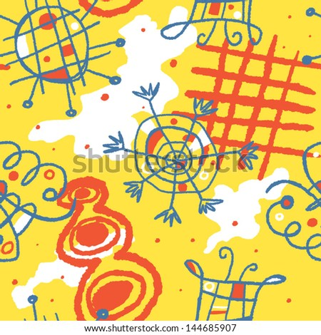 Bright cheerful vector seamless background with whimsical shapes - stock vector