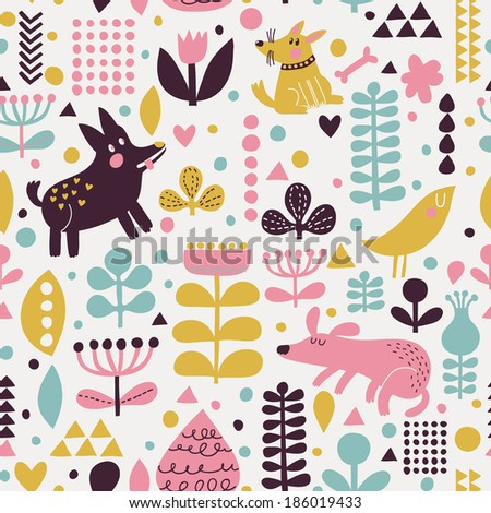 Bright childish seamless pattern with birds and funny dogs in vector. Seamless pattern can be used for wallpapers, pattern fills, web backgrounds,surface textures. Gentle childish wallpaper - stock vector