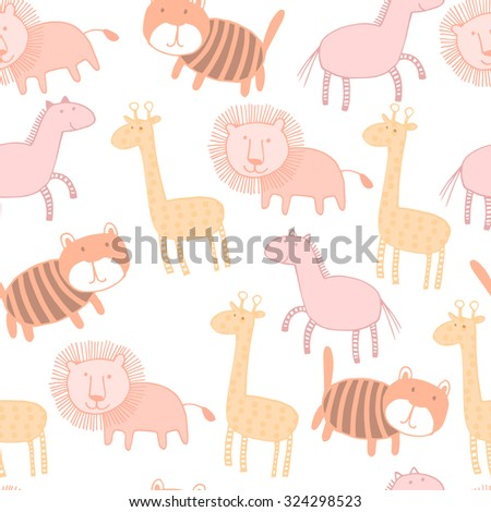 Bright childish seamless pattern with lion, tiger, horse, giraffe. Great for children bedroom wallpaper  - stock vector