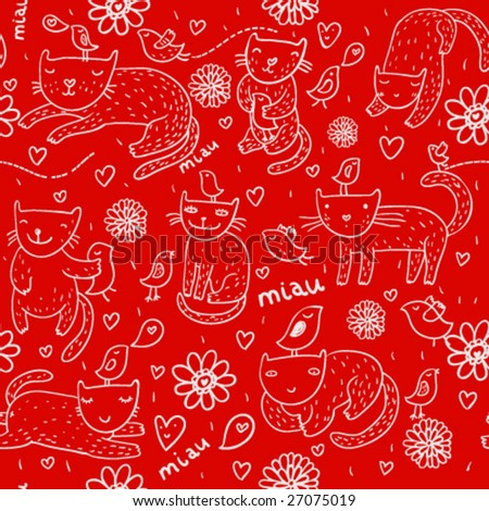 Bright children pattern with cats, birds and spring flowers on it in vector - stock vector