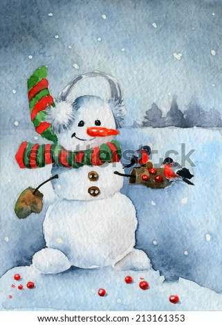 Bright Christmas card. Cheerful snowman. Vector illustrations - stock vector