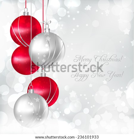 Bright Christmas card with Christmas decorations. - stock vector
