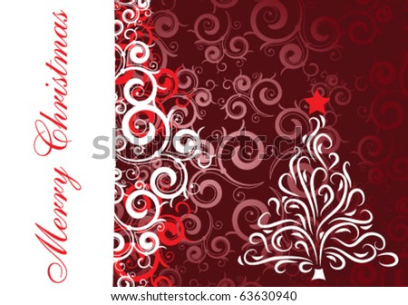 Bright Christmas card with curly elements - stock vector