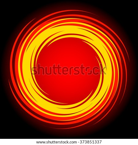 Bright Circle Fire Frame. Hand Drawing Vector Design Element. - stock vector