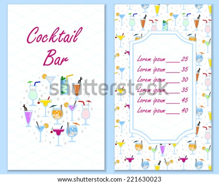 Bright cocktail bar menu design list template with decorative elements vector illustration retro style - stock vector