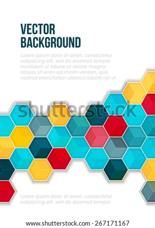 Bright color abstract geometric pattern. Blue, yellow, red polygons on a white background. Cover design template layout for corporate business card, booklet, brochure, flyer, poster, banner. Vector - stock vector