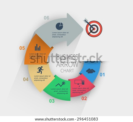 Bright color diagram with step by step data to the target - stock vector