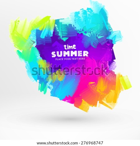 Bright Color Paint Stains for Summer Design - stock vector
