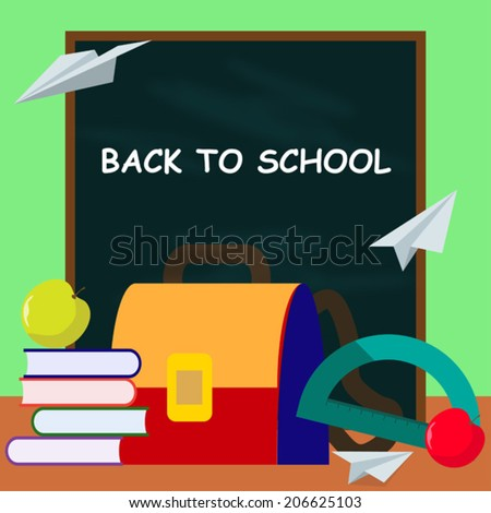 bright colored back to school cartoon vector background - stock vector