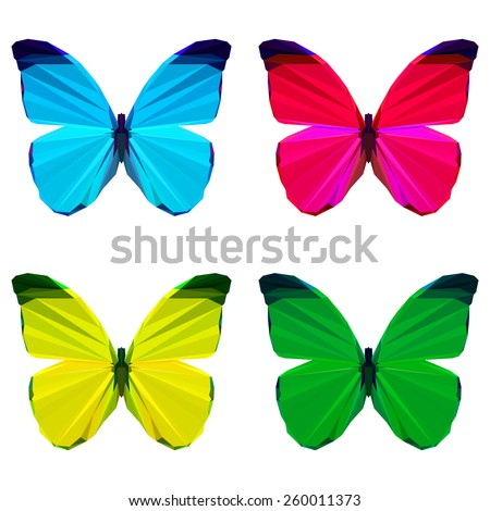 bright colored geometric polygonal abstract butterfly set isolated on white background for use in design for card, invitation, poster, banner, placard or billboard cover - stock vector