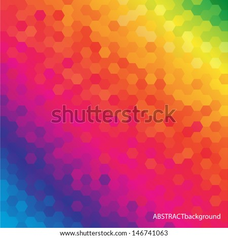 Bright Colored Hexagonal Honeycomb Abstract Background - Vector EPS10 - stock vector