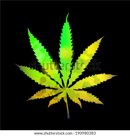 bright colored marijuana. Vector  - stock vector