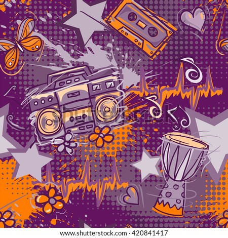 Bright colored seamless pattern in hippie style. Abstract background with notes, music tape, retro boom box, drum, hearts, flowers and butterflies . Funny vector wallpaper with half tone effect. - stock vector