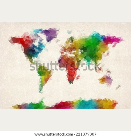 Bright colored watercolor map of the world with abstract triangles on a white background. Vector  - stock vector