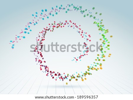 Bright colorful abstract particles fly forming spiral of refreshing air or water drops - visual advertising background. Vector illustration - stock vector