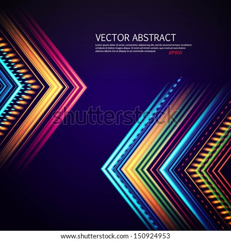 Bright colorful flying arrows on a fantastic design background. Vector illustration for your business presentations. EPS10. - stock vector